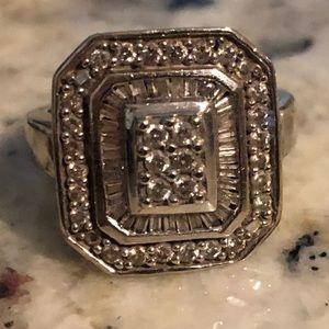 Square Halo Pave Diamond Ring